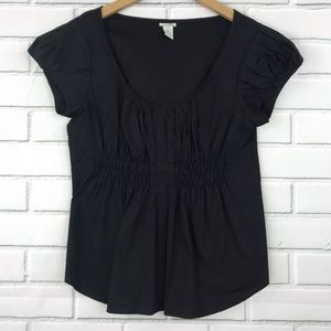 Odille Anthropologie Black Short Sleeve Blouse 12